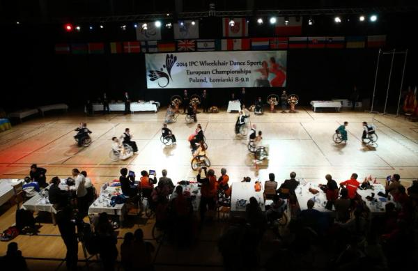 Participants compete during IPC Wheelchair Dance Sport European Championships in Lomianki near Warsaw